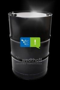 WEDTHOFF Stahlblechverpackungen, Bergungsfässer Stahlfass in Schwarz. Lackierungen in Corporate Farben