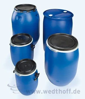 Kunststoff Deckelfässer – WEDTHOFF Industrieverpackung, Kunststoffverpackungen, Plastikfass, Deckelfass,