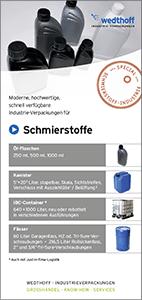 Flyer Ölflaschen für die Schmiermittel. Industrieverpackungen + Gefahrgutverpackungen by WEDTHOFF 100px