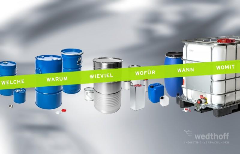 Unverbindlich anfragen: Industrieverpackungen + Gefahrgutverpackungen Weissblech Stahlblech Kunststoff by WEDTHOFF. Stahlfass, Kanister, Dosen ...
