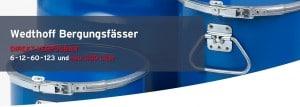 WEDTHOFF Industrieverpackungen + Bergungsverpackungen bis 300 L (Standort Köln, Ruhr, NRW) Fässer; Deckelfässer; Spundfässer; Edelstahlfass mit Spannring 216l. Professional Packaging,