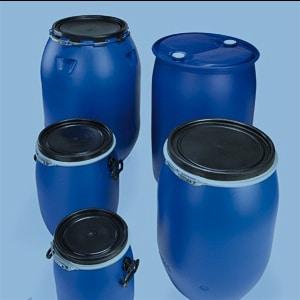 Gefahrgutverpackungen aus Kunststoff von WEDTHOFF: Kunststoff-Deckelfässer, auch mit Spannring