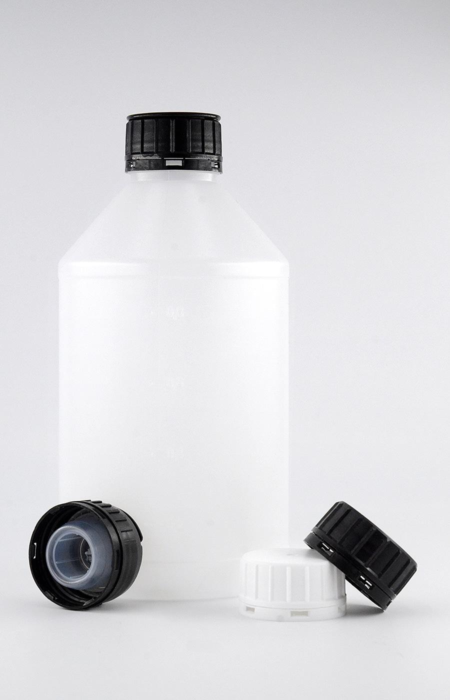 Kunststoffflasche PE 1 Liter, mit Verschluss (geeignet für Ethanol 96%) –WEDTHOFF Industrieverpackungen - RFL1000 - 01