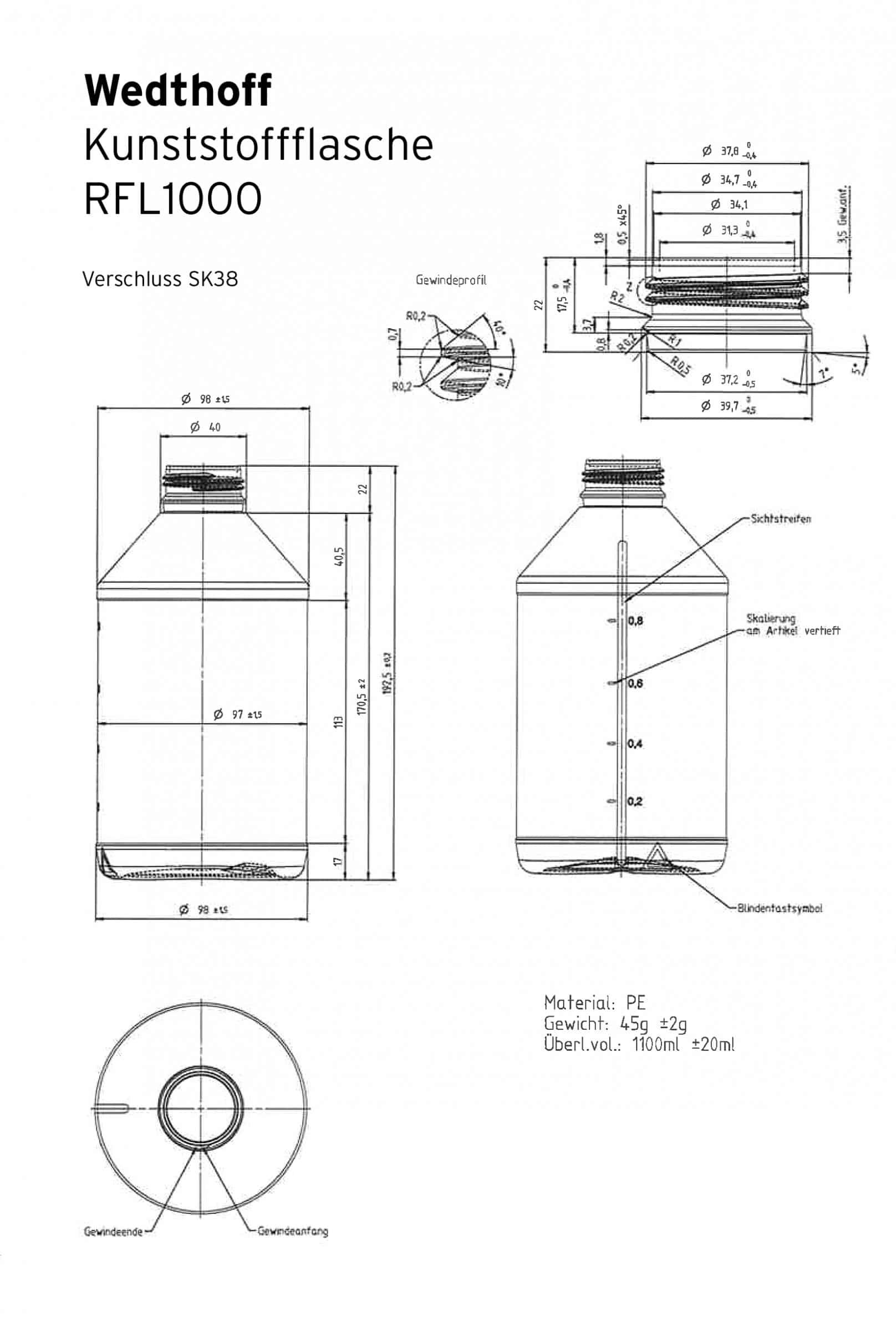 Aufmass Kunststoffflasche 1 Liter RFL1000. Ideale Kunststoffflasche für Desinfektionsmittel (Sterillium) von WEDTHOFF Industrieverpackungen