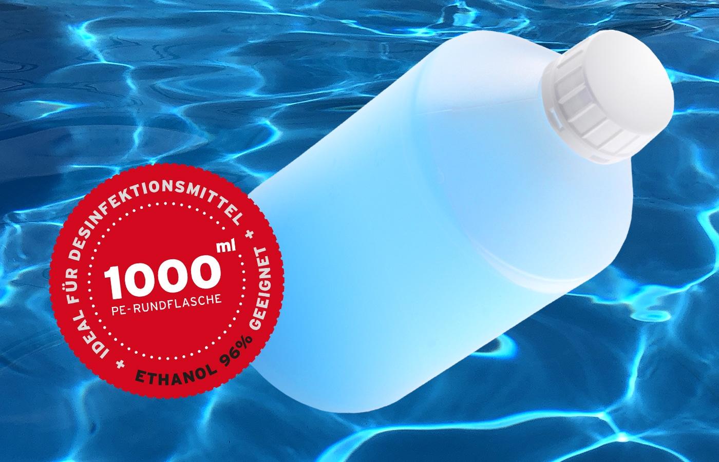 Stabile Kunststoffflasche Rundflasche 1 Liter 1000ml. Ideal für Desinfektionsmittel / Sterillium. Mit div. Verschlüssen. WEDTHOFF Industrieverpackungen