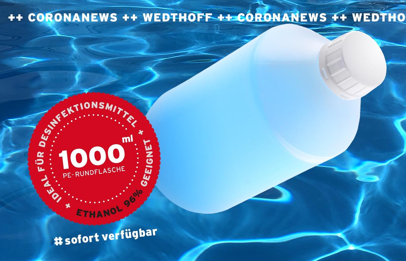 Kunststoffflasche 1Liter 1000ml ideal für Desinfektionsmittel / Sterillium. Mit div. Verschlüssen. WEDTHOFF_Industrieverpackungen.jpg