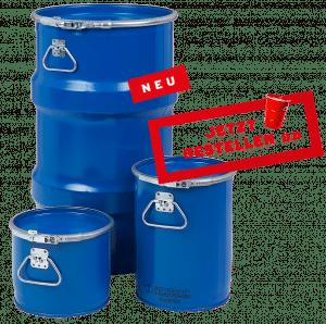 Bergungsfaesser / Bergungsverpackung / Gefahrgutverpackungen mit 300l - 123l - 60l - 12l - 6l @ WEDTHOFF Industrieverpackungen kaufen. Großhandel Köln Bonn NRW