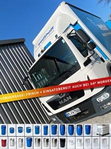 Industrieverpackungen und Gefahrgutverpackungen gehen bei WEDTHOFF auch bei 34 Sommerhitze von Köln aus auf Liefertour. Stahlfässer, IBC-Container, Weißblechdosen ... alles dabei