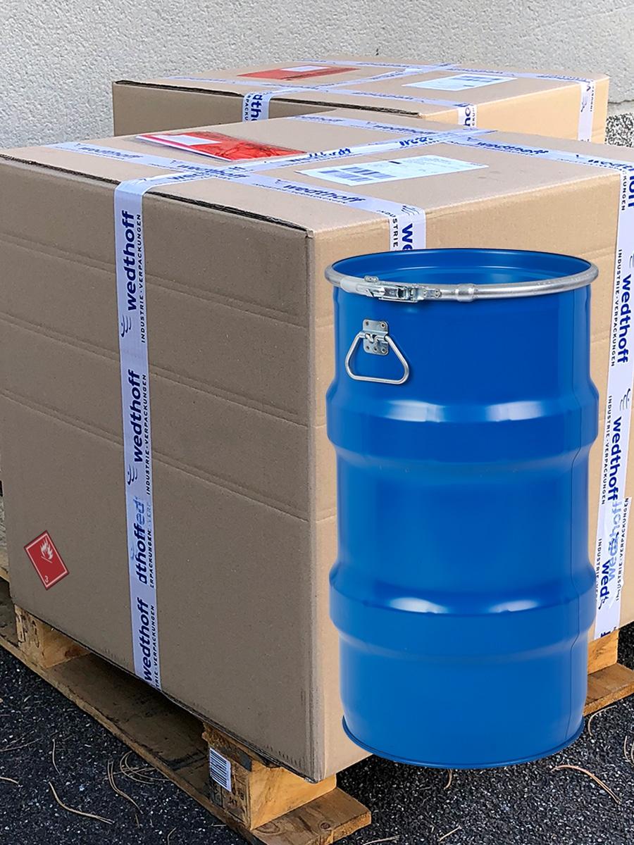 Gefahrgutverpackungen per Direktlieferung und per Versan. NRW / Bundesweit. Bergungsfässer online bestellen by WEDTHOFF